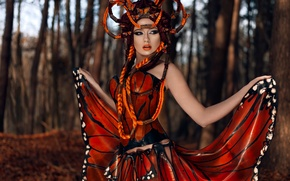 Picture girl, butterfly, outfit, monarch in latex