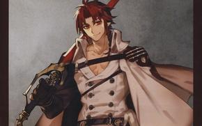 Picture sword, red, vampire, cloak, grin, military uniform, owari no seraph, the last Seraphim, crowley eusford, …