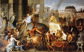 Picture Paris, oil, picture, The Louvre, canvas, Lebrun Charles, French painter and decorator, The triumphal entry ...
