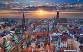 Wallpaper sunset, Poland, panorama, Wroclaw