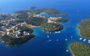 Picture sea, Islands, coast, yachts, Greece, panorama, Sivota