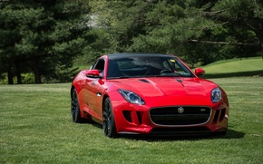 Picture red, jaguar, coupe, f-type