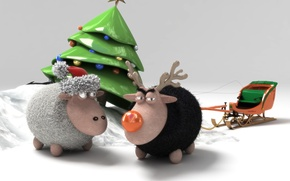 Wallpaper toy, tree, new year, sheep