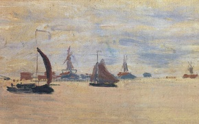 Picture boat, picture, sail, seascape, Claude Monet, View of the Voorzaan