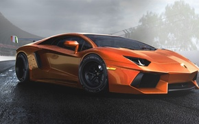 Picture Lamborghini, Orange, Sun, Tuning, LP700-4, Aventador, Supercar, Wheels, Track, Spoiler, DRAG, Italiano