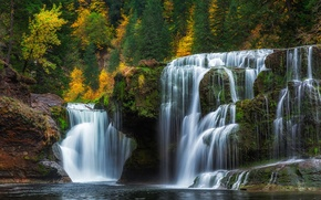 Picture autumn, forest, waterfall, cascade, Washington, Washington, Lower Lewis River Falls, river Lewis, Lewis River