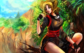 Picture forest, girl, trees, open, branch, art, naruto, thread, sitting, temari, rikamello
