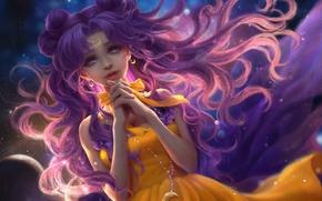Picture the sky, girl, a month, anime, art, chain, luna, Bishoujo Senshi Sailor Moon, sunmomo