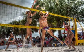 Wallpaper girls, mesh, the game, the ball, hdr, volleyball, submission, beach