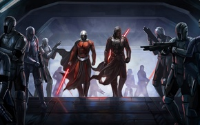 Picture ship, Star Wars, soldiers, swords, Darth Malak, Knights Of The Old Republic, Dart Revan