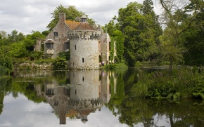 Picture water, trees, castle, shore, England, Kent, England, castle, Great Britain, Kent, Scotney, Scotney
