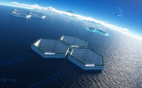Wallpaper cell, ship, art, facilities, colony, sea, water, cell