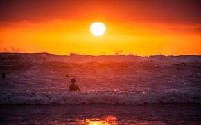 Picture waves, beach, ocean, sunset, sun, costa rica
