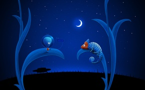 Picture chameleon, the moon, UFO, Blue, alien
