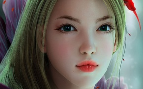 Picture flower, look, girl, face, art