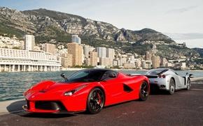 Picture red, silver, pier, red, ferrari, Ferrari, enzo, silvery, Enzo, the laferrari, laferrari