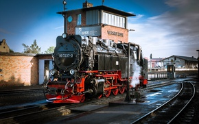 Picture train, the engine, station, railroad