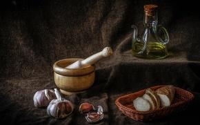 Picture oil, bread, still life, basket, garlic