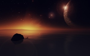 Picture water, stars, sunset, lake, planet, render