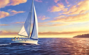 Picture picture, painting, painting, colorful sailboats at sunset