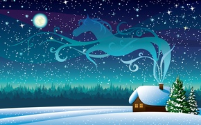 Picture the sky, stars, snow, trees, smoke, Winter, The moon, house