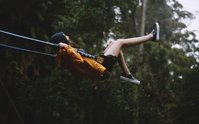 Picture girl, swing, hat, swinging