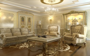 Picture room, sofa, furniture, interior, chairs, chandelier