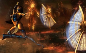 Wallpaper Steel Fans, kitana, mortal kombat, throw