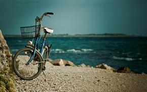Picture sea, water, bike, river, stones, background, widescreen, Wallpaper, basket, mood, wallpaper, basket, sea, widescreen, background, …
