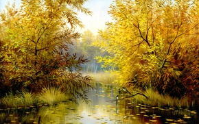 Picture autumn, leaves, trees, landscape, birds, nature, painting, time of the year
