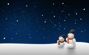 Wallpaper stars, Winter, snowmen, constellation