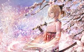 Wallpaper girl, sword, katana, Sakura, art, saber, fate/stay night, sishenfan, fate/grand order