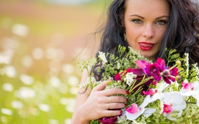 Picture look, flowers, face, bouquet, Katie
