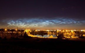 Picture the sky, night, lights, noctilucent clouds
