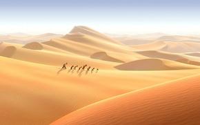 Picture sand, desert, cartoon, dwarves, hike, adventure, The 7th dwarf, The 7th dwarf