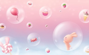 Picture background, anime, art, sweets, Bunny, children's, candy