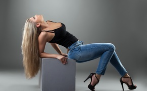 Picture girl, pose, hair, jeans, Mike, blonde, shoes, heels, profile