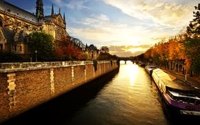 Picture river, dawn, Paris, morning, Notre Dame