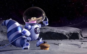 Wallpaper cinema, Ice Age, moon, stars, cartoon, movie, animal, planet, nuts, film, pose, squirrel, galaxies, cosmonaut, ...
