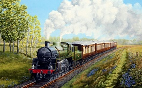 Picture wallpaper, train, painting