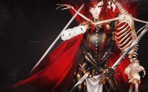 Picture look, girl, weapons, armor, skeleton, art, fairy tail, ezra scarlet, Crystalline-F