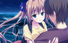 Picture stars, night, hugs, two, date, long hair, art, embarrassment, visual novel, princess evangile, nao saeki, …
