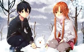Picture girl, snow, snowman, guy, anime, art, sword art online, Asuna Yuuki, Suguha Kirigaya