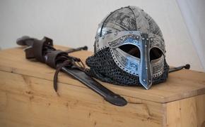 Picture sword, helmet, Vikings