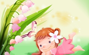 Picture art, girl, clearing, Lily of the valley, children's