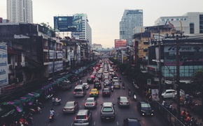 Picture Thailand, cars, asia, people, traffic, buildings, Bangkok, market, weather, vehicles, Indra, scooters