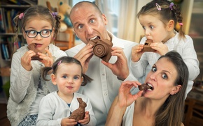 Picture joy, children, chocolate, family, parents, Happy Easter