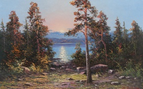 Picture water, the sun, trees, stones, shore, oil, picture, artist, canvas, sunset, JOHAN, OSSIAN, ANDERSSON