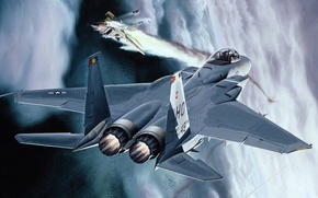 Wallpaper mig-23, Eagle, McDonnell, fighter, art, aviation, American, figure, F-15, Douglas, dogfight