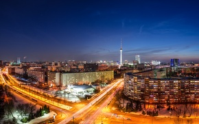 Picture road, machine, night, the city, lights, building, home, excerpt, Germany, panorama, Germany, tower, capital, Germany, …